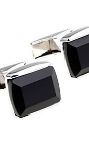 Black Glass Cufflinks French Men's Shirt Business Sleeve Nail For Groom