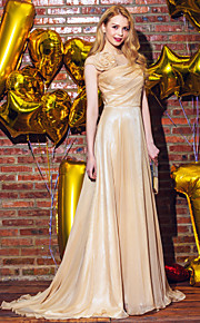 TS Couture® Formal Evening Dress A-line Scoop Sweep / Brush Train Chiffon with Flower(s) / Side Draping