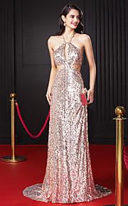 Formeller Abend Kleid-Perlen Pink Pailletten-Eng anliegend-Pinsel Schleppe-Träger
