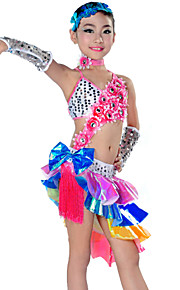 Latin Dance Outfits Children's Performance Polyester Tassel(s) 5 Pieces Multi-color Latin Dance Sleeves / Dress / Neckwear / Headpieces