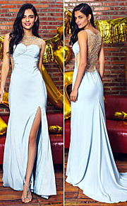 Formal Evening Dress - Sky Blue Trumpet/Mermaid Scoop Sweep/Brush Train Chiffon