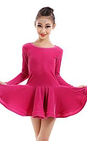 Latin Dance Dresses Children's Performance Velvet Draped 1 Piece DressDress length S(110):60cm / M(120):63cm / L(130):66cm / XL(140):69cm