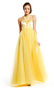 Formal Evening Dress A-line Jewel Floor-length Tulle / Charmeuse with Appliques