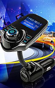 t10 super bluetooth bilmonteringssæt håndfri FM-sender trådløs mp3 musikafspiller støtte TF kort, 5v 2.1a USB Billader