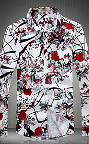 Camicia Uomo Casual Con stampe / Fantasia floreale Manica lunga Nylon