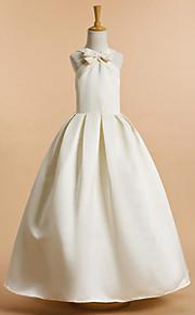 a-linje fotsid blomst jente kjole - satin ermeløs
