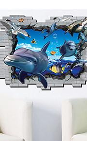 Shark Bottom Animals / Cartoon Wall Stickers 3D Wall Stickers,PVC 90*60cm