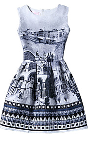 Women's Vintage Print Sheath Dress,Round Neck Above Knee Polyester