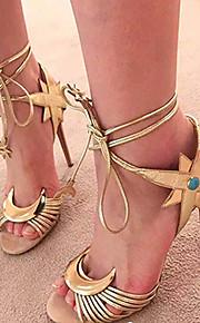 Серебристый / Золотистый-Женская обувь-Для праздника / Для вечеринки / ужина-Дерматин-На шпильке-На каблуках / На платформе / С открытым