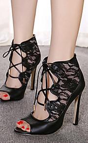 Черный-Женская обувь-Для праздника / Для вечеринки / ужина-Дерматин-На шпильке-На каблуках / С открытым носком / На платформе-Сандалии