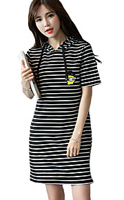 Women's Street chic Striped Loose Dress,Hooded Above Knee Cotton / Rayon