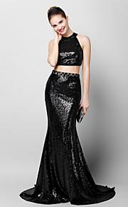 Официальный вечер Платье - Черный Русалка Круглый вырез Со шлейфом средней длины С блестками