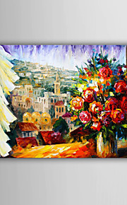 Hand-Painted Abstract / Landscape / People / Abstract Landscape European Style Oil Painting , Canvas One Panel