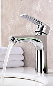 Centersat Enkelt Håndtak Et Hull in Krom Bathroom sink tappekran
