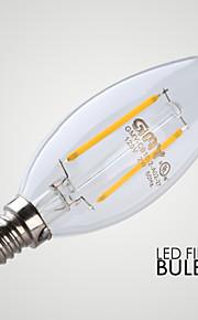 2W E12 LED-lysestakepærer B 2 COB ≥200 lm Varm hvit Dimbar / Dekorativ AC 110-130 V 1 stk.