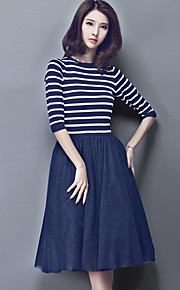 Women's Simple Striped Sheath Dress,Round Neck Knee-length Polyester
