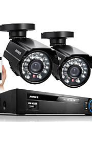 annke® 4-kanals 960h hdmi dvr 2stk 800tvl ir udendørs vejrbestandig cctv kamera 24 leds hjem sikringssystem overvågning kits