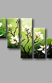 """estirada (listo para colgar) al óleo pintada a mano de pintura de flores modernas 50 """"x32"""" de la lona de arte de la pared verde blanco"""