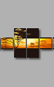 "Stretched (ready to hang) Hand-Painted Oil Painting 72""x28"" Canvas Wall Art Modern Abstract Trees Sunrise"
