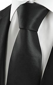 KissTies Men's Plain Black Microfiber Tie Necktie For Wedding Evening Funeral With Gift Box