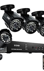 Zosi @ 8-kanaals 960H hdmi dvr met 1TB hdd 4 stuks 800tvl outdoor cctv binnenlandse veiligheid camera systeem