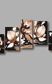 """estirada (listo para colgar) pintado a mano la pintura al óleo 60 """"x40"""" flores modernas pared de lona de arte negro blanco"""