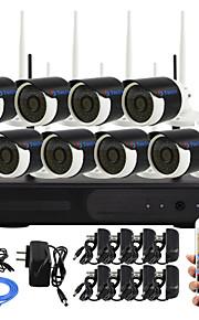 yanse® 8-kanaals diy waterdichte draadloze nvr kit 720p HD IR nachtzicht beveiliging ip camera wifi cctv-systeem p2p