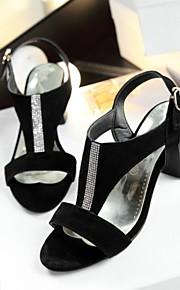 Черный-Женская обувь-Для офиса / Для праздника / На каждый день-Замша-На толстом каблуке-На каблуках / Удобная обувь / Оригинальная обувь
