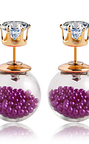 Simple Pearl Female Candy Color Transparent Double-sided Hollow Glass Beads Earrings