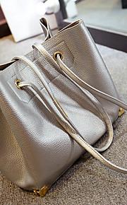 Women PU Weekend Bag Tote-Gold / Silver / Black