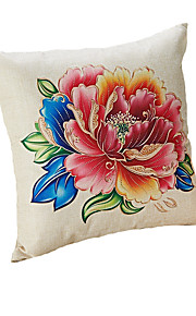Design Print  Gold Peony Decorative Throw Pillow Case Cushion Cover 17inch for Sofa Home Decor Polyester Material