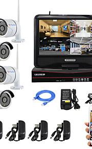 yanse® 10-tommer skærm plug and play trådløse NVR kit p2p 960p hd ir nattesyn sikkerhed ip kamera wifi CCTV-system
