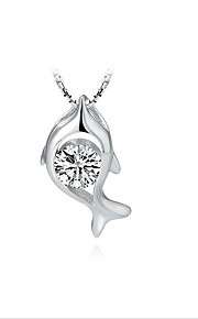 Trendy Women Crystal Real 925 Sterling Silver Rhinestone Hollow Fish Pendant Long Chain Goldfish Necklace Women Jewelry