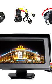 """4,3 """"LCD-farveskærm skærm + 360 ° foran / sider / bag omvendt parkering hd kamera"""