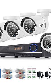 sannce® 720p AHD 8-kanals førte vedio CCTV sikkerhed dvr hjem overvågning kamerasystem (hvid)