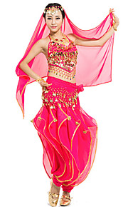 Belly Dance Outfits Women's Performance Chiffon Sequins 4 Pieces Blue / Fuchsia / Light Blue / Purple / Red / Yellow