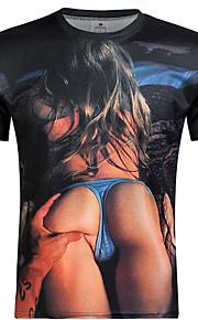 Camiseta De los hombres Casual Estampado / camuflaje-Poliéster-Manga Corta