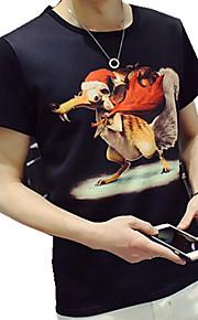 Camiseta De los hombres Casual Estampado-Algodón / Poliéster-Manga Corta