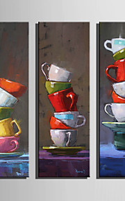 E-HOME® Stretched Canvas Art The Cup Folded Decoration Painting  Set of 3