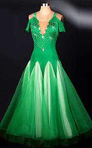 Ballroom Dance Dresses Women's Performance Spandex Draped 1 Piece Green