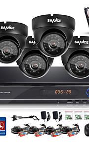 sannce® 8-kanals cctv-system 720p kamera 1080p hdmi AHD cctv dvr 4stk 1,0 mp ir udendørs Sikkerhedssystem overvågningskamera