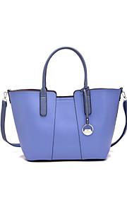 DAVIDJONES/Women PU / Canvas Shopper Shoulder Bag / Tote-White / Blue / Gold / Black / Camel