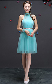 Short/Mini Tulle Bridesmaid Dress-Blushing Pink / Lilac / Champagne / Sky Blue A-line Halter