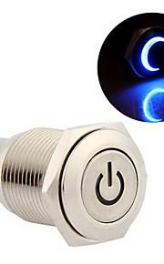 16mm 12v blauwe led kortstondige drukknop metalen schakelaar voor auto zilver