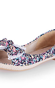 Women's Shoes Canvas Flat Heel Peep Toe / Comfort Flats Dress / Casual Black / Red