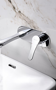 壁式 シングルハンドル二つの穴 in クロム バスルームのシンクの蛇口