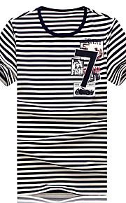 남성의 캐쥬얼 / 작업/오피스 / 스포츠 / 플러스 사이즈 티셔츠 짧은 소매 줄무늬 면 / 스판덱스