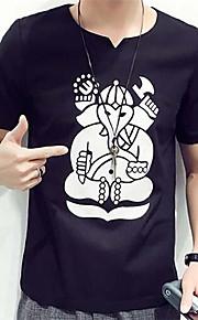 Camiseta De los hombres Casual Estampado-Algodón-Manga Corta