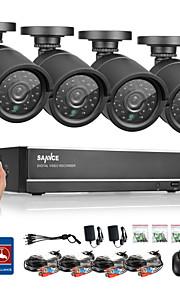 sannce® 4-kanals AHD dvr 4stk 720p ir vejrbestandige udendørs CCTV kamera hjem sikkerhed overvågning kits CCTV-system