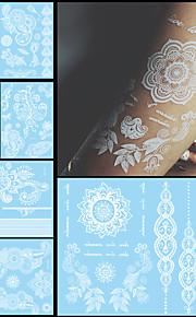 7PCS Trendy Fake Flower Waterproof Tatoo Temporary White For Women Body Art Tattoo Henna Pendant Choker